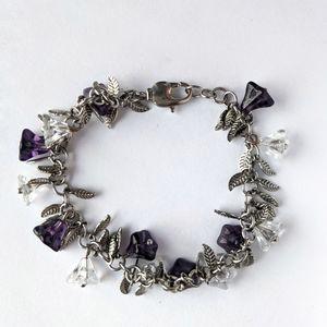 Vintage Purple and Clear glass Flower Bracelet